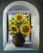 Interior Still Life Art - Sunflowers on The Window by Kiril Stanchev