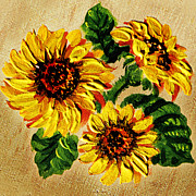 Flower Order Posters - Sunflowers On Wooden Board Poster by Irina Sztukowski