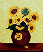 Pods Originals - Sunflowers on Yellow by Barbara Griffin