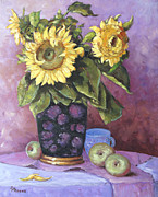 Canadian Landscape Prints - Sunflowers Study by Prankearts Print by Richard T Pranke