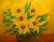 Svetla Dimitrova Metal Prints - Sunflowers Metal Print by Svetla Dimitrova