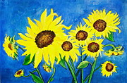Canmore Artist Posters - Sunflowers Poster by Virginia Ann Hemingson