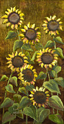 Sunflowers With Gold Leaf By Vic Mastis Print by Vic  Mastis