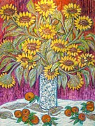 Yellow Leaves Sculpture Posters - SUNFLOWERS with RED APPLES Poster by Gunter E  Hortz