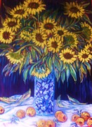 Floral Sculpture Acrylic Prints - Sunflowers with Yellow Apples  1 Acrylic Print by Gunter Erik Hortz