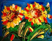Fall Panorama Paintings - Sunflwers by Mark Kazav