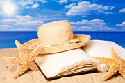 Photo Album Posters - Sunhat In Sand Poster by Christopher and Amanda Elwell