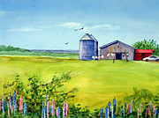 Silos Painting Posters - Sunkissed and Windblown Lupines and Laundry in PEI Poster by Ruth Bodycott