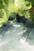 Watercolour Painting Metal Prints - Sunlight and Foliage Conservatory Garden Central Park Watercolor Painting Metal Print by Beverly Brown Prints