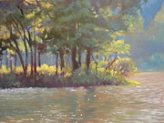 Blue Ridge Parkway Paintings - Sunlight and Shadow at the  Peaks of Otter by Janet Wimmer