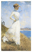 Woman In A Dress Framed Prints - Sunlight Framed Print by Frank Benson