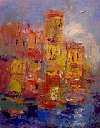 Riomaggiore Paintings - Sunlight in the Cinque Terre by R W Goetting