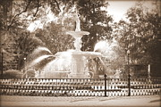 Southern Charm Prints - Sunlight through Savannah Fountain - Sepia Print by Carol Groenen