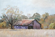 Old Barns Pastels Posters - Sunlit Barn Poster by Patricia Harriss