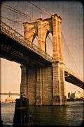 Vintage River Scenes Posters - Sunlit Brooklyn Bridge Poster by Joann Vitali