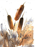 Waterscape Painting Metal Prints - Sunlit Cattails Metal Print by Vickie Sue Cheek