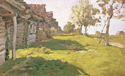 Wooden Building Painting Posters - Sunlit Day  A Small Village Poster by Isaak Ilyich Levitan