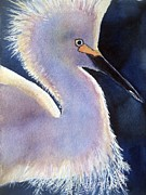 Bird Art Originals - Sunlit Egret by Patricia Pushaw