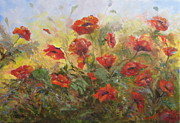 Poppies Field Paintings - Sunlit Poppies by Claiborne Hemphill-Trinklein