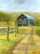 Split Rail Fence Painting Prints - Sunlit  Road To The Barn Print by Vicky Watkins