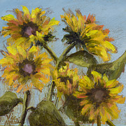 Field Of Sunflowers Paintings - Sunnie Delight by Vic  Mastis