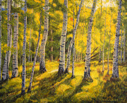 Wooden Painting Metal Prints - Sunny birch Metal Print by Veikko Suikkanen