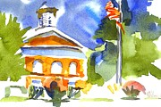 Greens Paintings - Sunny Courthouse by Kip DeVore