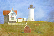 Watercolor Photo Metal Prints - Sunny Day at Nubble Lighthouse Metal Print by Carol Leigh