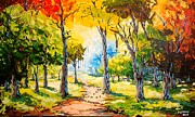 Pallet Knife Prints - Sunny Day In The Park Print by Evans Yegon
