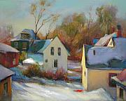 Winter Scene Paintings - Sunny Day In Winter by Svitozar Nenyuk