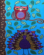 Owl Paintings - Sunny Day Owl and Peacock by Kerri Ambrosino GALLERY