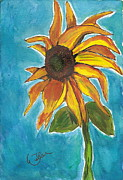 Illustrative Prints - Sunny Flowers Print by Marcia Weller-Wenbert
