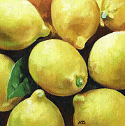 Yellow And Brown Posters - Sunny Lemons Poster by Natasha Denger