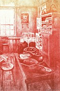 Color Lithographs Drawings Acrylic Prints - Sunny Old Fashioned Kitchen Acrylic Print by Kendall Kessler