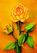 Screen Print Painting Prints - Sunny rose Print by Zulfiya Stromberg