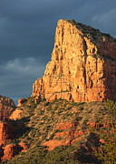 Sunset In Mountains Posters - Sunny Side of Sedona Poster by Carol Groenen
