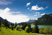 Spring Landscape Art - Sunny spring day at the lake blue sky and green meadow by Matthias Hauser
