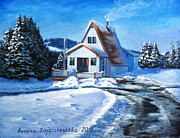 Wite Prints - Sunny Winter Day by The Cabin Print by Bozena Zajaczkowska