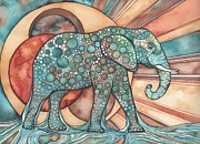 Blue Mushrooms Painting Posters - Sunphant Sun Elephant Poster by Tamara Phillips