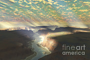 Land Feature Art - Sunrays Shine Down On Mist by Corey Ford