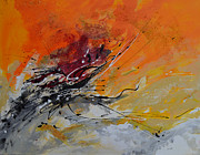 Tasteful Mixed Media Prints - Sunrise - Abstract 1 Print by Ismeta Gruenwald
