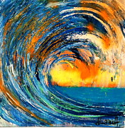 Surf Artist Paintings - Sunrise by Adam Brett