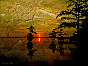 Cypress Digital Art Prints - Sunrise And Cypress Abstract Print by J Larry Walker