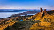 Mountain Photos - Sunrise and the Moon over the Old Man of Storr by Maciej Markiewicz