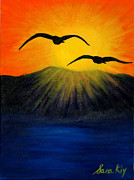 Life Posters Originals - Sunrise and Two Seagulls by Oksana Semenchenko