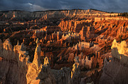 Natural Formations Posters - Sunrise at Bryce Canyon Poster by Sandra Bronstein