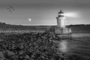 Maine Shore Posters - Sunrise at Bug Light BW Poster by Susan Candelario