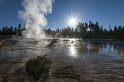 Fog Rising Photos - Sunrise at Fountain Paint Pots - Yellowstone National Park by Sandra Bronstein