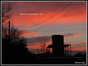 Haystack Framed Prints Framed Prints - Sunrise at grandpas silo Framed Print by Debbie Clark