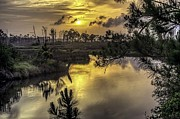 Pier Digital Art Originals - Sunrise at Gulf Shores Bayou by Michael Thomas